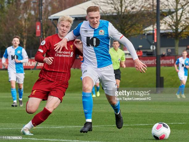 Luis Longstaff of Liverpool and Hayden Carter of Blackburn Rovers in action at The Kirkby Academy on October 26 2019 in Kirkby England