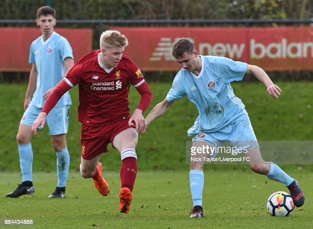 Luis Longstaff of Liverpool and Jack Diamond of Sunderland in action during the Liverpool v Sunderland U18 Premier League Cup game at The Kirkby...