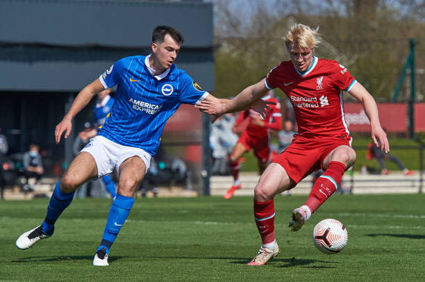 Luis Longstaff of Liverpool and Jack Wakely of Brighton in action during the Premier League 2 match between Liverpool U23 and Brighton & Hove Albion...