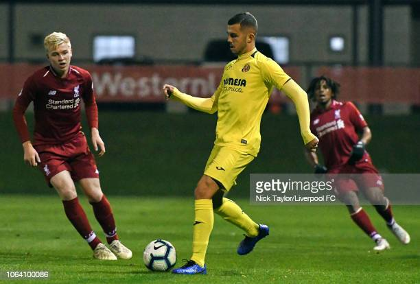Luis Longstaff of Liverpool and Joan Salva of Villarreal in action during the Premier League International Cup game at The Kirkby Academy on November...