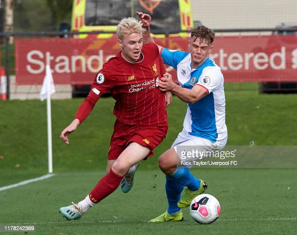 Luis Longstaff of Liverpool and Lewis Thompson of Blackburn Rovers in action at The Kirkby Academy on October 26 2019 in Kirkby England