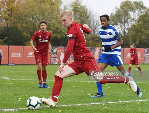 Luis Longstaff of Liverpool and Marcel ElvaFountaine of Reading in action during the Premier League Cup game at The Kirkby Academy on November 10...