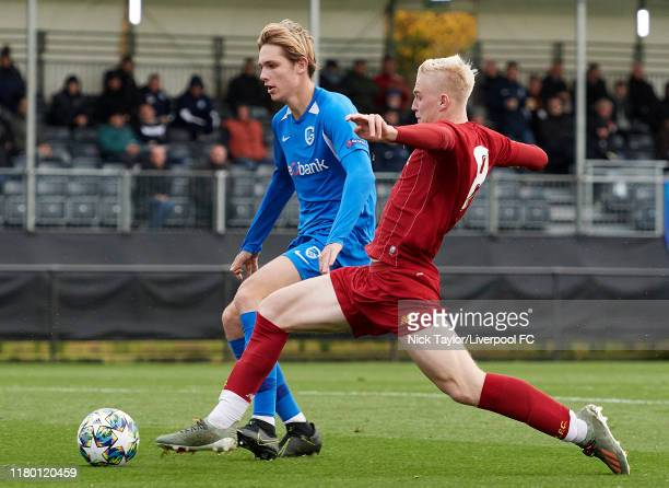 Luis Longstaff of Liverpool and Matisse Didden of Genk in action during the UEFA Youth League game at the Kirkby Academy on November 5 2019 in Kirkby...