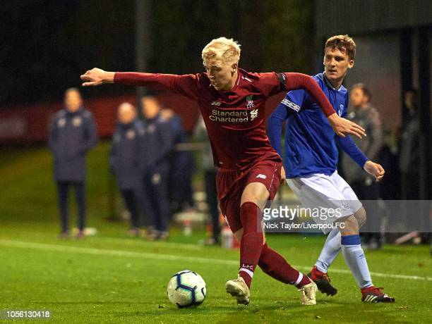 Luis Longstaff of Liverpool and Pawel Zuk of Everton in action during the U18 Premier League game at The Kirkby Academy on November 1 2018 in Kirkby...