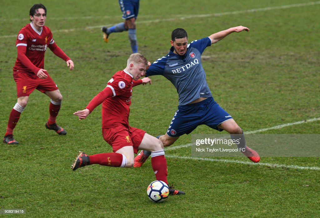 Luis Longstaff of Liverpool and Ryan Blumberg of Charlton Athletic in action during the Liverpool U23 v Charlton Athletic U23 Premier League Cup game at The Swansway Chester Stadium on January 21, 2018 in Chester, England.