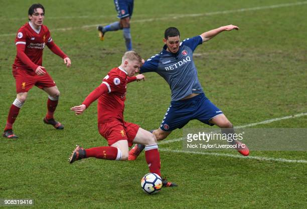 Luis Longstaff of Liverpool and Ryan Blumberg of Charlton Athletic in action during the Liverpool U23 v Charlton Athletic U23 Premier League Cup game...