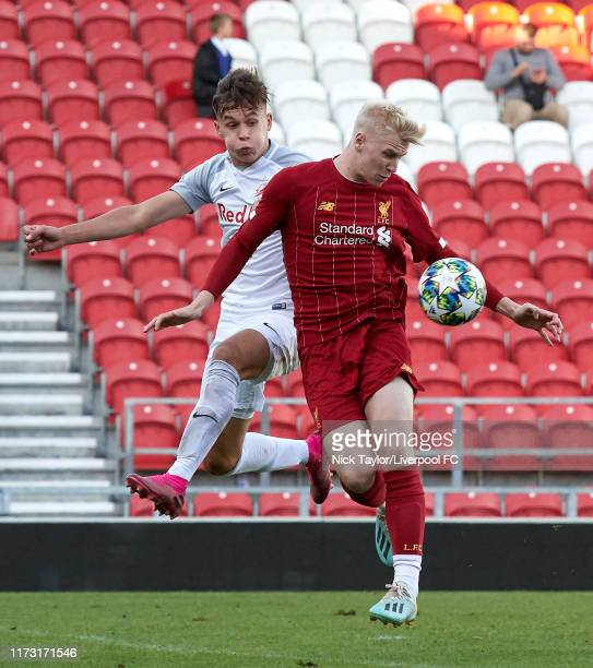 Luis Longstaff of Liverpool and Samuel Major of RB Salzburg in action during the UEFA Youth League game at Totally Wicked Stadium on October 2 2019...