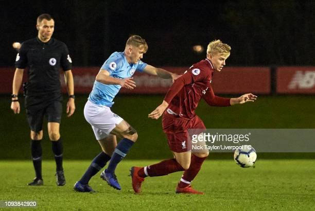 Luis Longstaff of Liverpool and Taylor Bellis of Manchester City in action during the PL2 game at The Kirkby Academy on February 4 2019 in Kirkby...