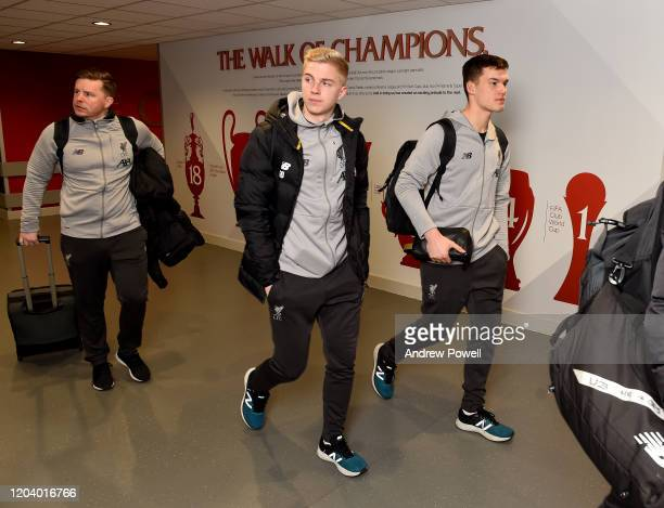 Luis Longstaff of Liverpool arriving before the FA Cup Fourth Round Replay match between Liverpool FC and Shrewsbury Town at Anfield on February 04...