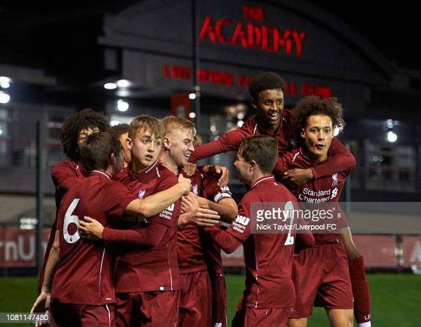 Luis Longstaff of Liverpool celebrates his goal with team mates Leighton Clarkson Jake Cain Jack Walls Abdi Sharif and Rhys Williams during the U18...