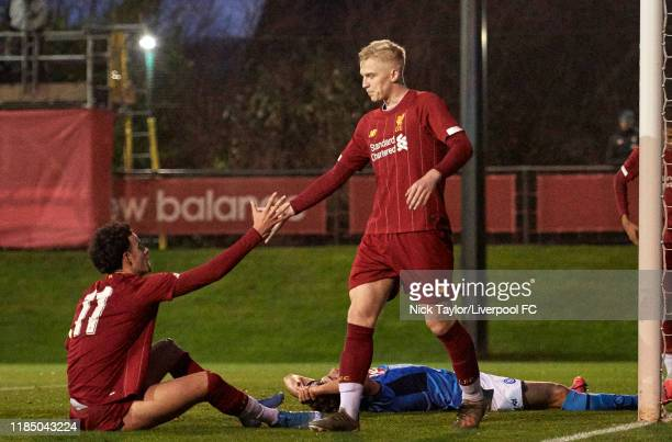 Luis Longstaff of Liverpool celebrates scoring Liverpool's seventh goal with Curtis Jones during the UEFA Youth League game at The Kirkby Academy on...