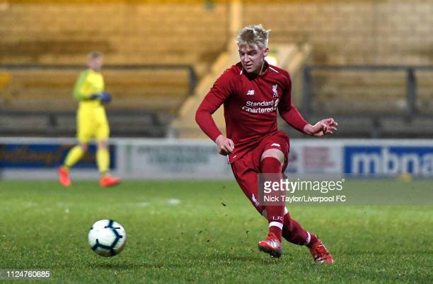 Luis Longstaff of Liverpool in action during the FA Youth Cup game at The Swansway Chester Stadium on February 13 2019 in Chester England