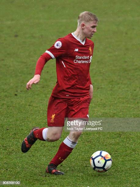 Luis Longstaff of Liverpool in action during the Liverpool U23 v Charlton Athletic U23 Premier League Cup game at The Swansway Chester Stadium on...