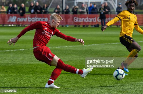 Luis Longstaff of Liverpool in action during the Liverpool v Wolverhampton Wanderers U18 Premier League match at the Kirkby Academy on April 6 2019...