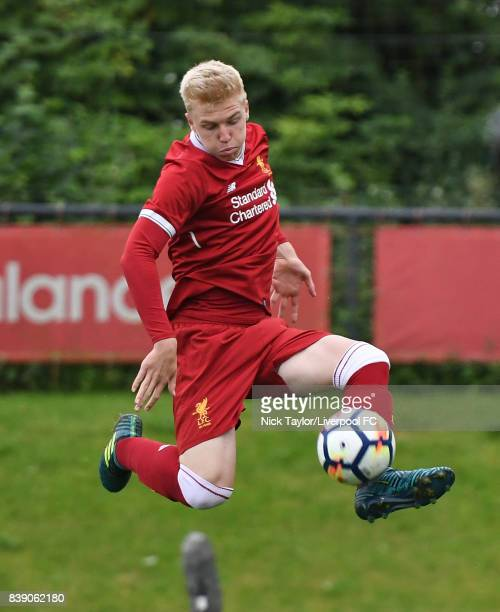 Luis Longstaff of Liverpool in action during the Liverpool v Newcastle United U18 Premier League game at The Kirkby Academy on August 25 2017 in...