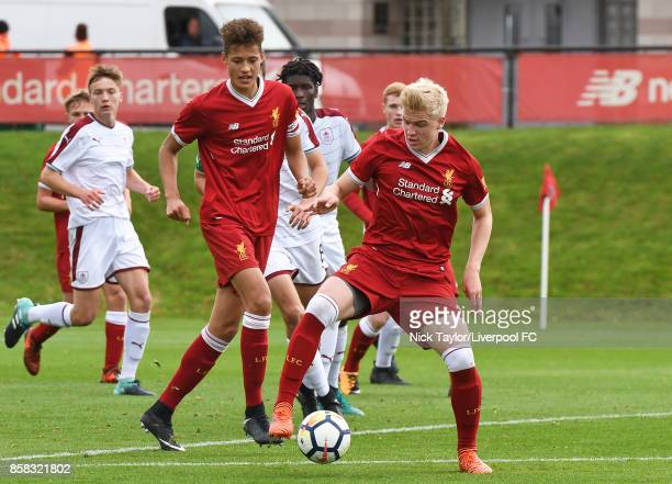 Luis Longstaff of Liverpool in action during the U18 friendly match between Liverpool and Burnley at The Kirkby Academy on October 6 2017 in Kirkby...