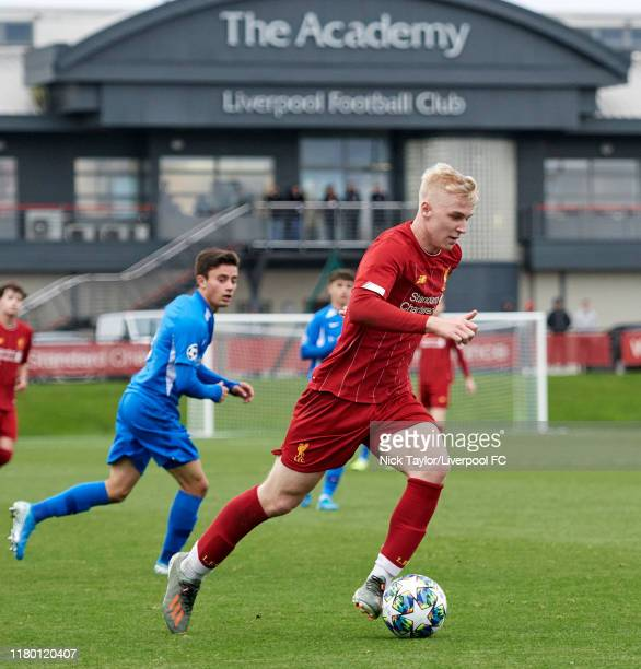 Luis Longstaff of Liverpool in action during the UEFA Youth League game at the Kirkby Academy on November 5 2019 in Kirkby England