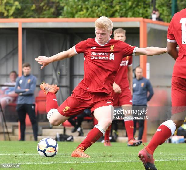 Luis Longstaff of Liverpool scores his team's fourth goal during the U18 friendly match between Liverpool and Burnley at The Kirkby Academy on...