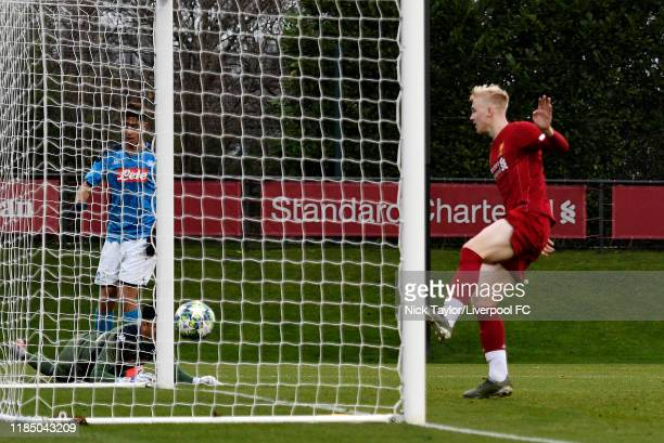 Luis Longstaff of Liverpool scores Liverpool's fifth goal during the UEFA Youth League game at The Kirkby Academy on November 27 2019 in Kirkby...