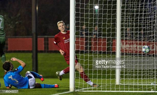 Luis Longstaff of Liverpool scores Liverpool's seventh goal during the UEFA Youth League game at The Kirkby Academy on November 27 2019 in Kirkby...
