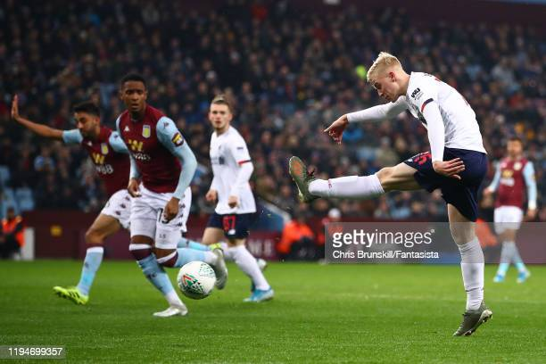 Luis Longstaff of Liverpool shoots at goal during the Carabao Cup Quarter Final match between Aston Villa and Liverpool FC at Villa Park on December...