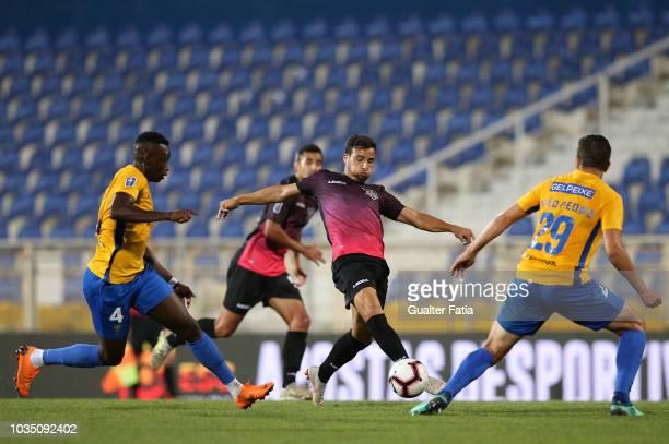 Luis Machado of CD Feirense in action during the Portuguese League Cup match between GD Estoril Praia and CD Feirense at Estadio Antonio Coimbra da...