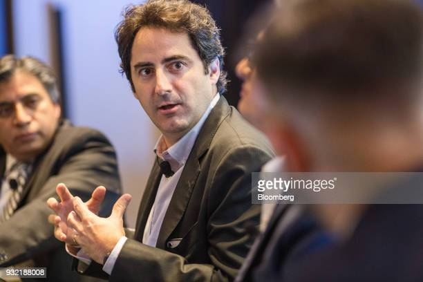 Luis Madrazo economic and public policies advisor for the Institutional Revolutionary Party presidential candidate Jose Antonio Meade speaks during...