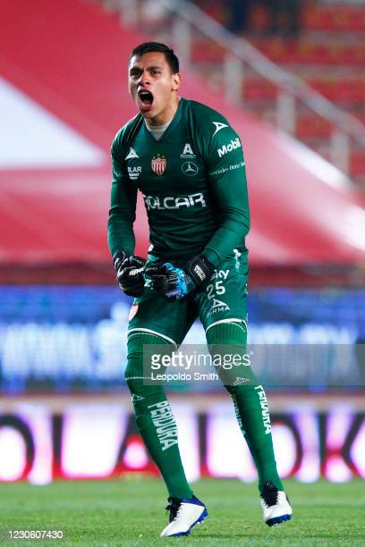 Luis Malagon goalkeeper of Necaxa celebrates the first goal of his team during the 2nd round match between Necaxa and Atletico San Luis as part of...