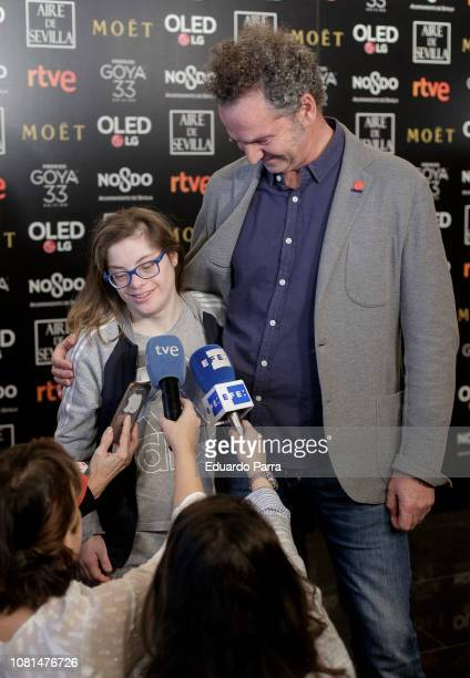 Luis Manso and actress Gloria Ramos attend 33rd Edition Goya Candidates Lecture at Academia de Cine on December 12 2018 in Madrid Spain