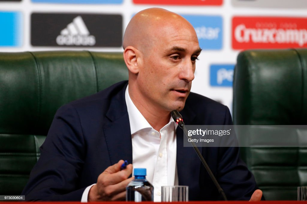 Luis Manuel Rubiales talks to the media after the decision to dismiss Julen Lopetegui as coach of the Spanish national side during a Press Conference ahead of the FIFA World Cup Russia 2018 on June 13, 2018 in Krasnodar, Russia.