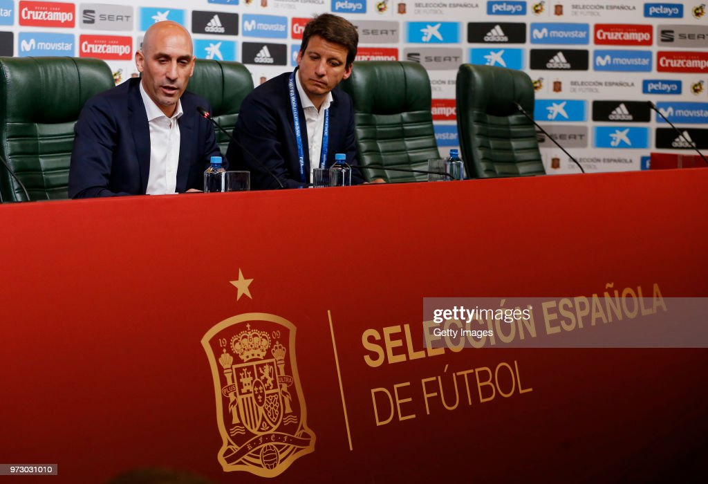 Luis Manuel Rubiales talks to the media during a Press Conference after the decision to dismiss Julen Lopetegui as coach of the Spanish national side ahead of the FIFA World Cup Russia 2018 on June 13, 2018 in Krasnodar, Russia.
