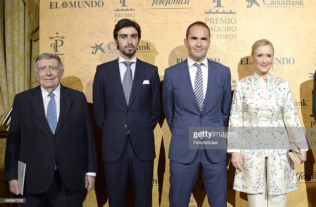 Luis Maria Anson, Miguel Angel Perera, guest and Cristina Cifuentes attend the 'Paquiro' Bullfight Award Ceremony at The Ritz Hotel on October 1, 2015 in Madrid, Spain.