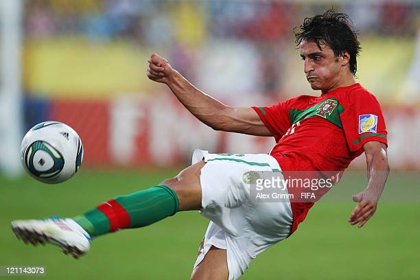 Luis Martins of Portugal controles the ball during the FIFA U20 World Cup 2011 quarter final match between Portugal and Argentina at Estadia Jaime...