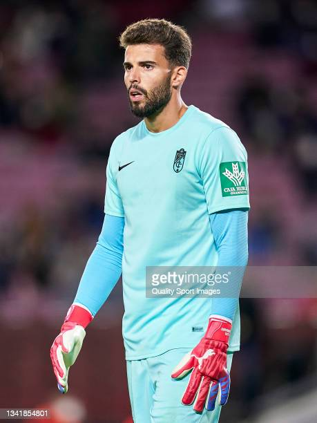 Luis Maximiano of Granada CF looks on during the La Liga Santander match between FC Barcelona and Granada CF at Camp Nou on September 20, 2021 in...