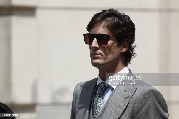 Luis Medina arrives to the wedding of Prince Christian of Hanover and Alessandra de Osma at Basilica San Pedro on March 16 2018 in Lima Peru