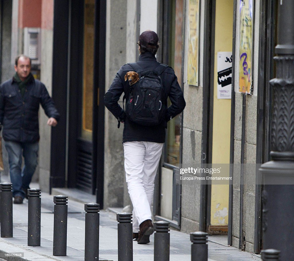 Luis Medina is seen going for a walk with his pet dog on January 30, 2013 in Madrid, Spain.