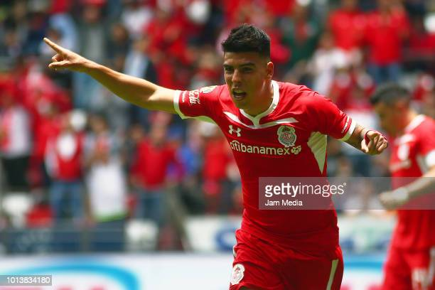 Luis Mendoza of Toluca celebrates after scoring the second goal of his team during the third round match between Toluca and Chivas as part of the...