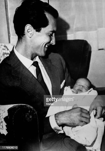 Luis miguel domingu'n with his daughter lucia domingu'n. 1957.