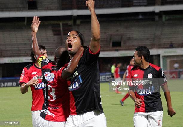 Luis Miguel of Cucuta celebrates a goal against Junior during a match between Cucuta and Junior as part of the Liga Postobon II at General Santander...