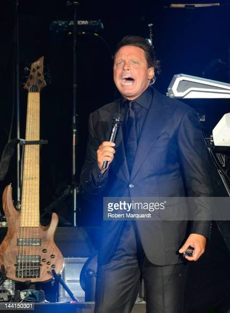 Luis Miguel performs on stage at the Palau Sant Jordi on May 10 2012 in Barcelona Spain