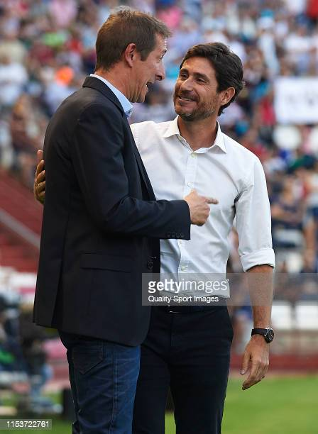 Luis Miguel Ramis Manager of Albacete Balompie greets Victor Sanchez del Amo Manager of Malaga CF during the LaLiga 123 match between Albacete...