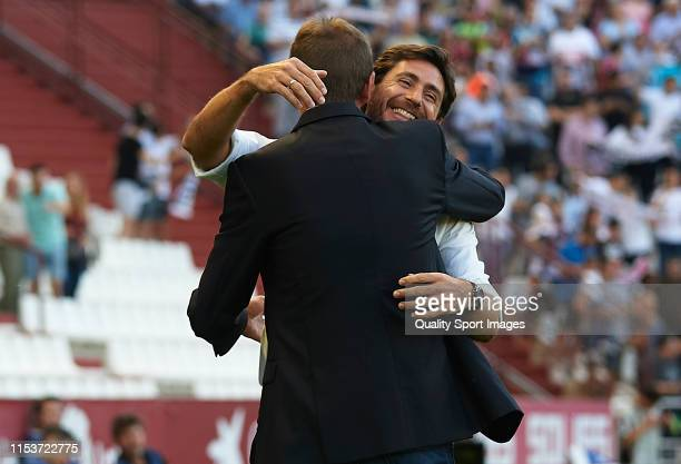 Luis Miguel Ramis, Manager of Albacete Balompie greets Victor Sanchez del Amo, Manager of Malaga CF during the LaLiga 123 match between Albacete...