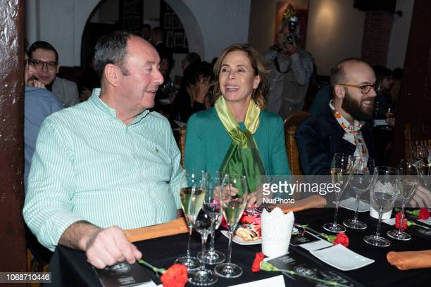 Luis Miguel Rodriguez designer Agatha Ruiz de la Prada and Tristan Ramirez attend the 'Onirico' presentation at El Corral de la Moreria bar on...