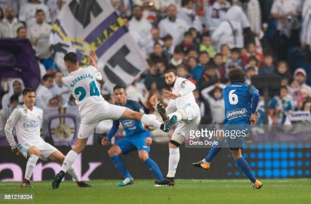 Luis Milla of Fuenlabrada scores his teamÕs opening goal during the Copa del Rey Round of 32 Second Leg match between Real Madrid and Fuenlabrada at...