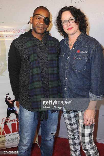 J Luis Mills and Angela Shelton arrive for the premiere of 'Heart Baby' held at The Ahrya Fine Arts Laemmle Theater on November 23 2018 in Beverly...