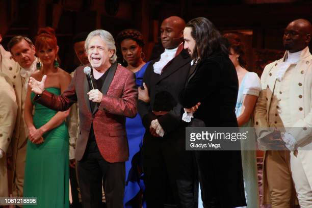 Luis Miranda father of LinManuel Miranda speaks on stage with LinManuel Miranda and the cast of Hamilton at the end of the play as part of the...