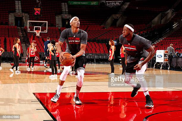 Luis Montero and Cliff Alexander of the Portland Trail Blazers warms up before the game against the Utah Jazz on January 13 2016 at the Moda Center...