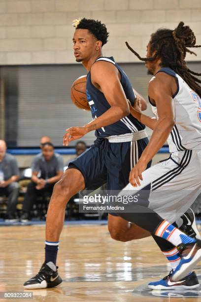 Luis Montero of the Dallas Mavericks dribbles the ball against the Oklahoma City Thunder during the Mountain Dew Orlando Pro Summer League on July 5...