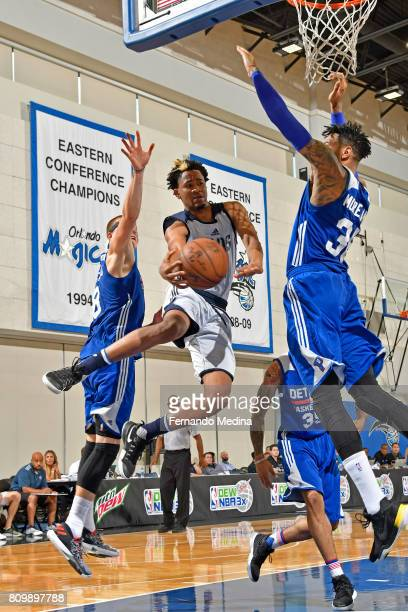 Luis Montero of the Dallas Mavericks drives to the basket against the Detroit Pistons during the Mountain Dew Orlando Pro Summer League Championship...