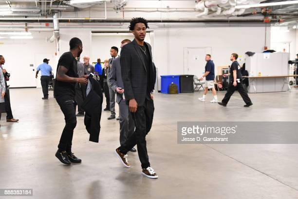 Luis Montero of the Detroit Pistons arrives at the arena before the game against the Charlotte Hornets on October 18 2017 at Little Caesars Arena in...